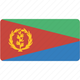 country, eritrea, flag, flags, national, rectangle, rectangular, world icon