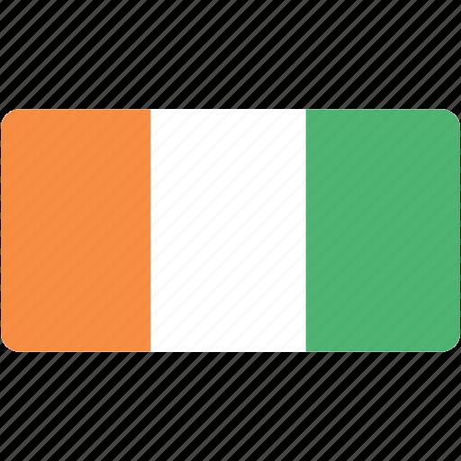 coast, country, flag, flags, ivory, national, rectangle, rectangular, world icon