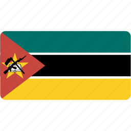 country, flag, flags, mozambique, national, rectangle, rectangular, world icon