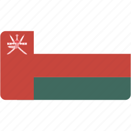 country, flag, flags, national, oman, rectangle, rectangular, world icon