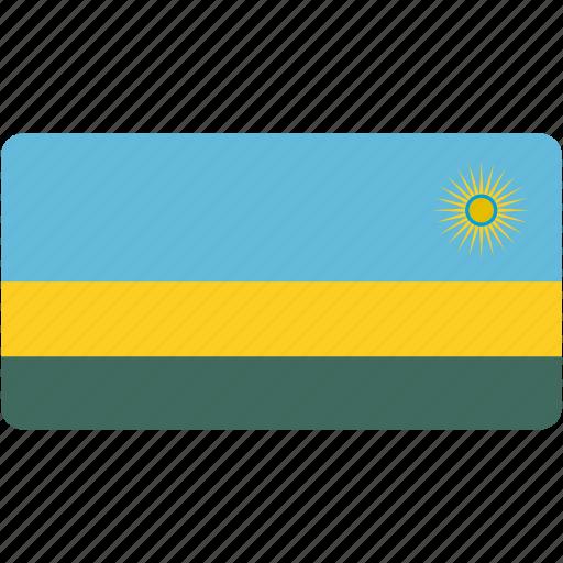 country, flag, flags, national, rectangle, rectangular, rwanda, world icon
