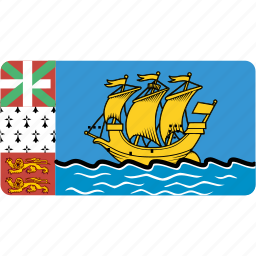 and, country, flag, flags, miquelon, national, pierre, rectangle, rectangular, saint, world icon
