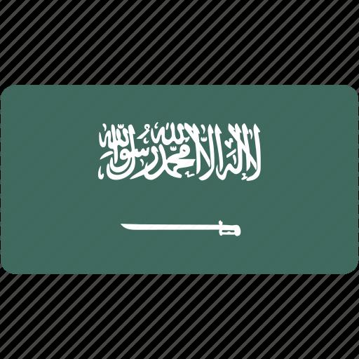 arabia, country, flag, flags, national, rectangle, rectangular, saudi, world icon