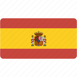 country, flag, flags, national, rectangle, rectangular, spain, world icon
