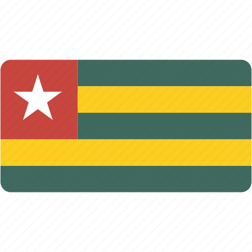 country, flag, flags, national, rectangle, rectangular, togo, world icon
