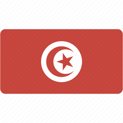 country, flag, flags, national, rectangular, tunisia, world icon