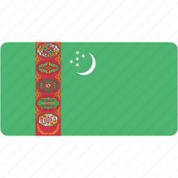 country, flag, flags, national, rectangle, rectangular, turkmenistan, world icon