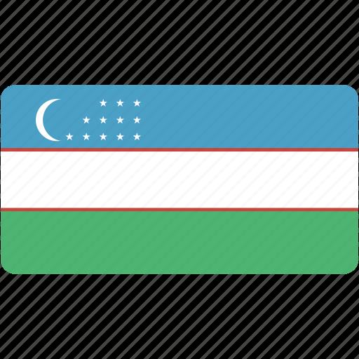 country, flag, flags, national, rectangle, rectangular, uzbekistan, world icon