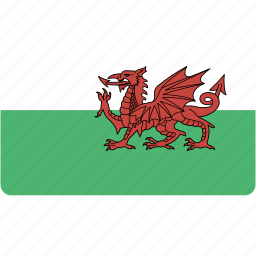 country, flag, flags, national, rectangle, rectangular, wales, world icon
