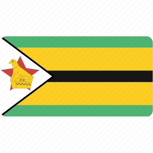 country, flag, flags, national, rectangle, rectangular, world, zimbabwe icon