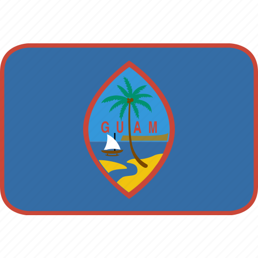 country, flag, guam, nation, rectangle, round icon