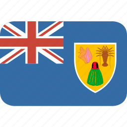and, caicos, country, flag, islands, nation, rectangle, round, the, turks icon