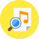 audio, magnifying, music, play, search, sound icon