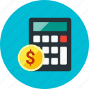 budget, calculator, coin, currency, finance, money, payment icon
