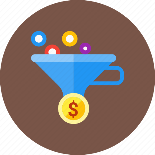 conversion, dollar, ecommerce, filter, funnel, money icon