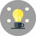 bulb, coffee, creative, fresh, idea, lamp, light icon