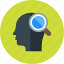 creative, head, idea, intelligent, magnifying, search icon
