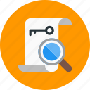 document, keyword, paper, research, search icon