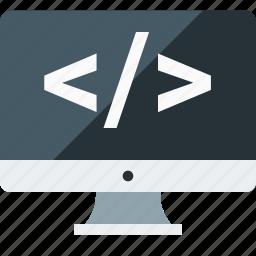 application, clear code, computer, custom, development, programming, source icon