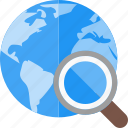 explore, global, magnifier, optimization, search engine, seo, worldwide icon