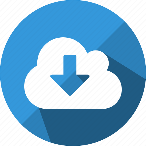 arrow, cloud, direction, down, download, load icon