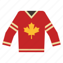 canada, characteristic, hockey, maple, sport, team, uniform icon