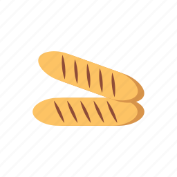 baguette, bakery, bread, food, meal, snack, wheat icon