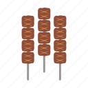 barbeque, beef, food, grill, meat, satay, stick icon