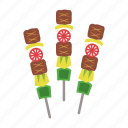 barbeque, beef, food, grill, meat, satay, vegetable icon