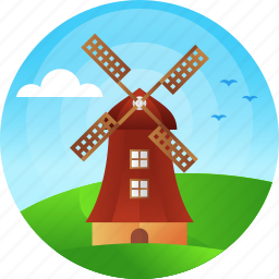 country, netherlands, travel, windmill icon
