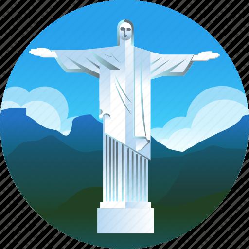 brazil, christ the redeemer, country, rio de janeiro, travel, trip icon