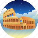 colosseum, country, italia, travel icon