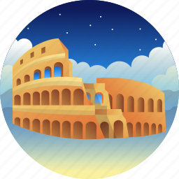 colosseum, country, italia, travel icon