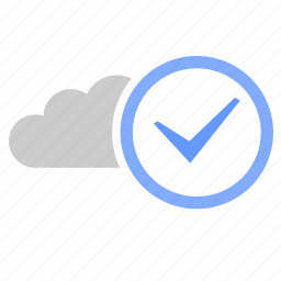 accept, cloud, complete, ok, storage, technology icon