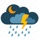 clouds, condition, night, rain, storm, weather icon