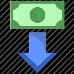 bank, bottom, dollar, down, money, poi, usd icon