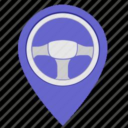 driver, geo, location, poi, pointer, wheel icon