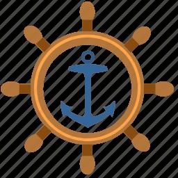boat, driver, marine, salor, ship, wheel icon