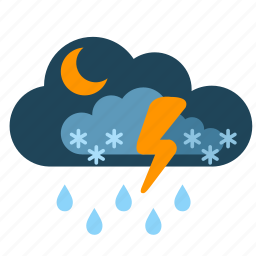 cloud, night, show, storm, weather icon