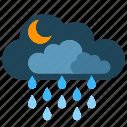 clouds, moon, night, rain, snow icon