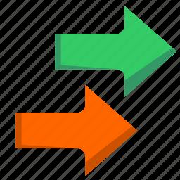 arrows, one, vectors, way icon