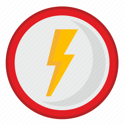 attention, electric, road, shock, sign, warning icon