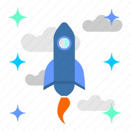 clouds, rocket, ship, space, spaceship, stars icon