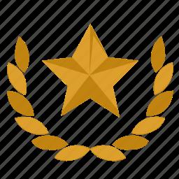 favorite, laurel, star, wreath icon