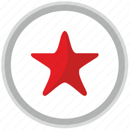 label, mark, rating, red, round, star icon