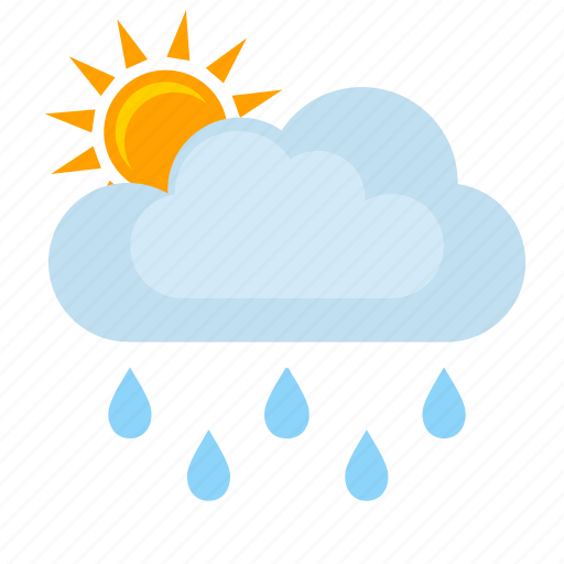 clouds, condition, rain, sun, weather icon