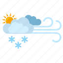 clouds, flakes, show, sun, weather, wind icon