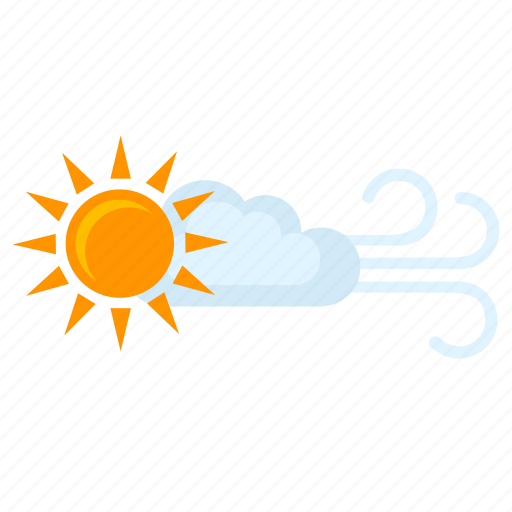clouds, condition, sun, weather, wind icon