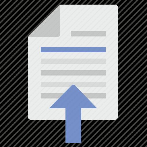 arrow, document, income, paste, text, top icon
