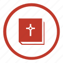 bible, book, ebook, round icon